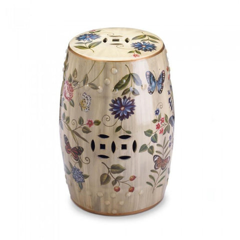 Accent Plus 10017413 Butterfly Garden Ceramic Stool
