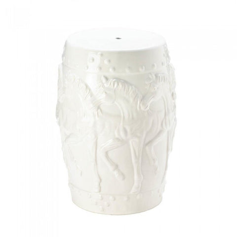 Accent Plus 10017923 White Horses Ceramic Decorative Stool
