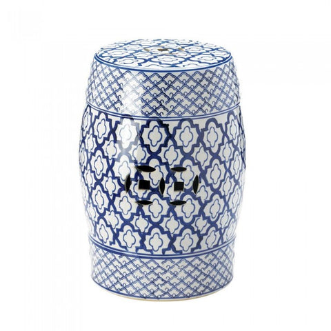 Accent Plus 10017922 Blue And White Ceramic Decorative Stool