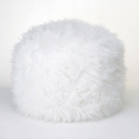 Accent Plus 15183 Fuzzy White Ottoman Pouf - livezippy