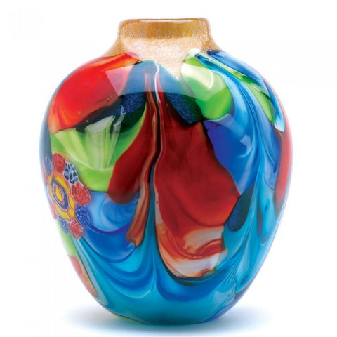 Accent Plus 12982 Floral Fantasia Art Glass Vase