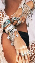 bohemian jewelry bracelets on beach