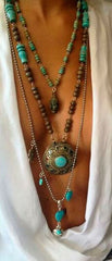 bohemian jewelry cleavage turquoise necklace
