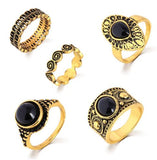 bohemian style jewelry 5 rings set gold