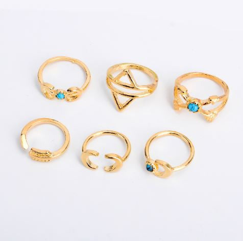 bohemian style jewelry 6 pieces rings set gold