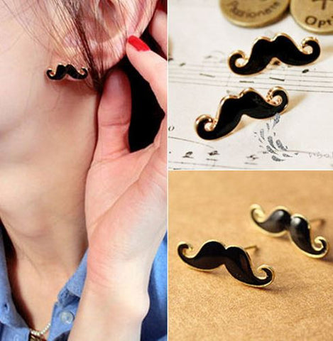 mustache earrings studs
