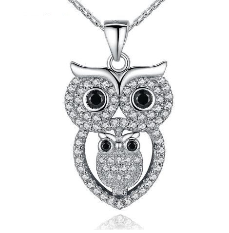Una platinum plated owl pendant necklace bohemian style jewelry owl within an owl diamond necklace aloadofball Image collections