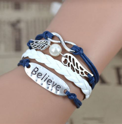believe angel wings leather bracelets