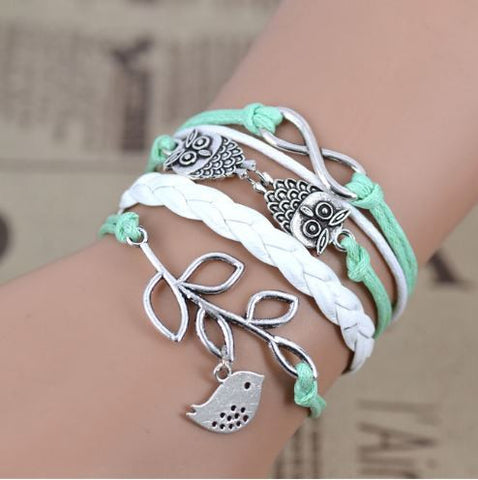bird leaf leather bracelet set