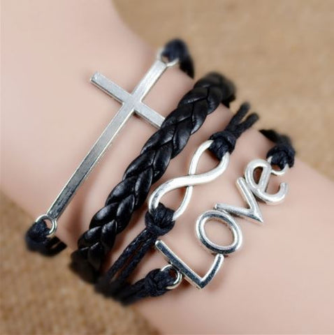 "Edna | ""God's Unconditional Love"" Cross Infinity Love 4 Leather Bracelets Set - One Drop Jewelry"