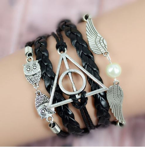 bohemian style jewelry owl wings leather bracelet