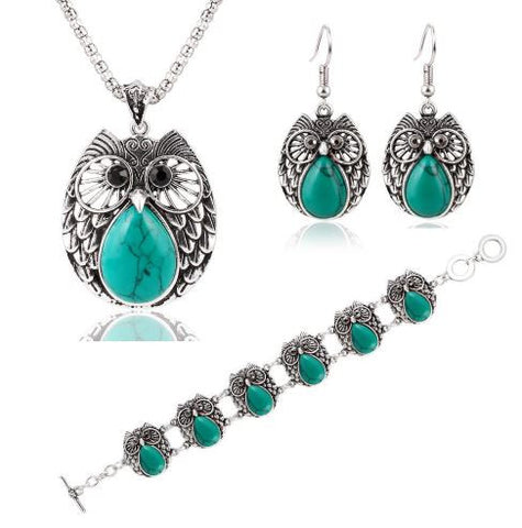bohemian style jewelry owl set bracelet necklace earrings silver