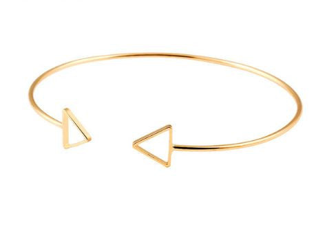 bohemian style geometric triangle bangle gold