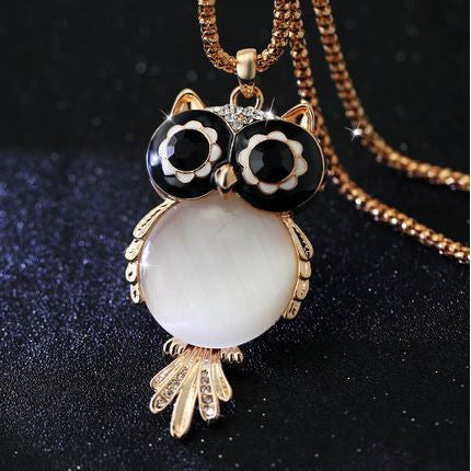 bohemian style jewelry owl necklace black