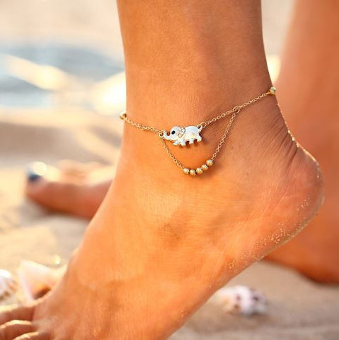 bohemian style jewelry anklet beach elephants