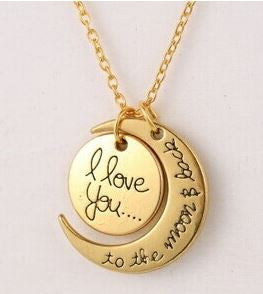 i love you to the moon and back necklace pendant