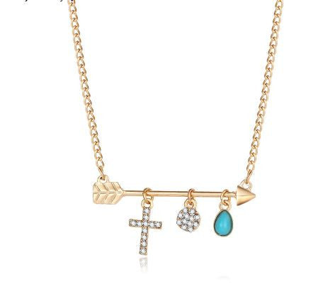 bohemian necklace arrow cross