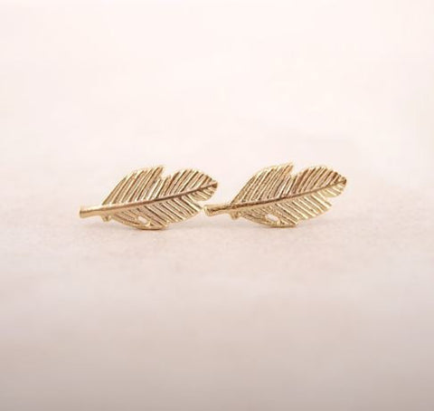 bohemian style leaf earrings gold