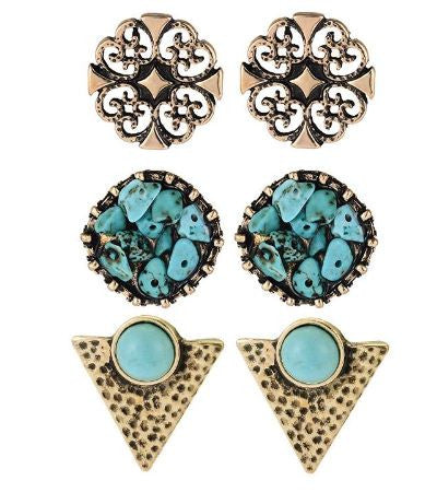 bohemian style jewelry turquoise stud earrings