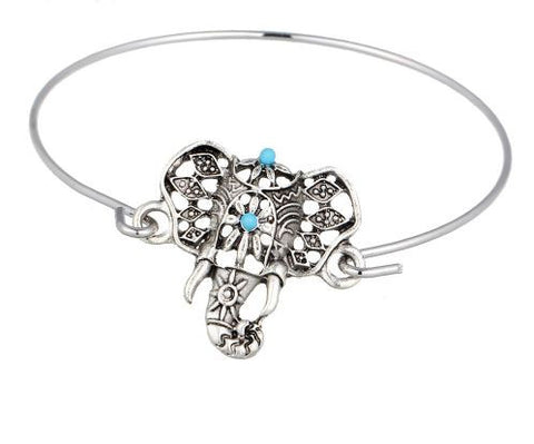 bohemian style jewelry elephant bangle bracelet turquoise
