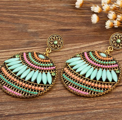 bohemian gypsy chandelier earrings round