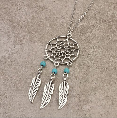 bohemian style dream catcher necklace