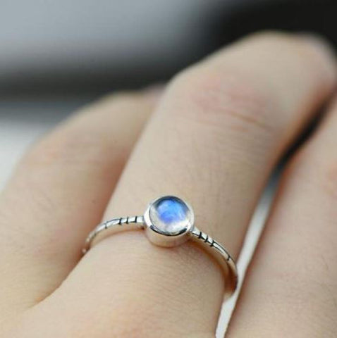 moonstone moon ring blue
