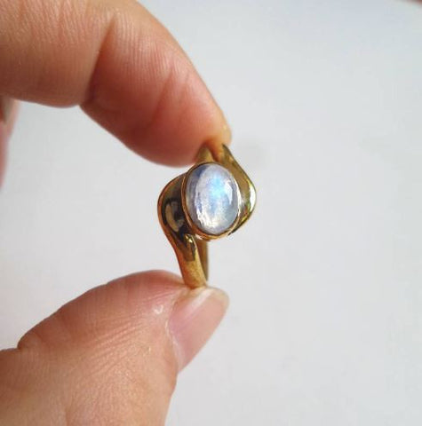 moonstone ring moon gold brass