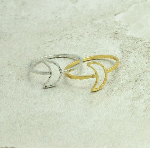 moon ring gold silver