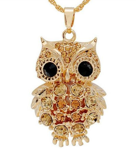 bohemian style necklace pendant owl gold