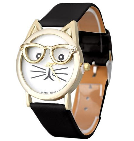 cat with glasses watch black