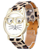 cat with glasses watch leopard