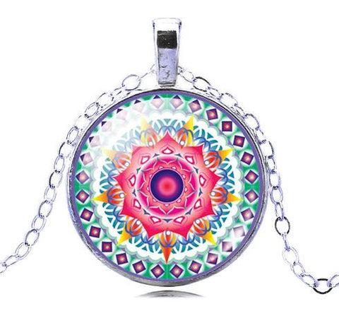 yoga jewelry mandala necklace pendant pink