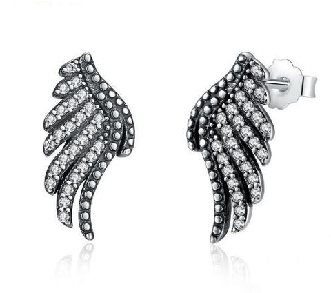 Daphne | 925 Sterling Silver Angel Wings Earrings - One Drop Jewelry