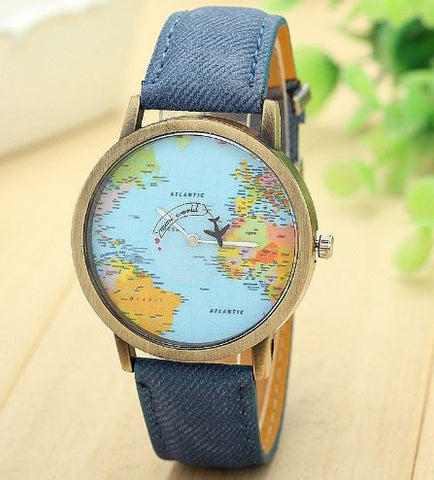 wanderlust watch globetrotter world map blue