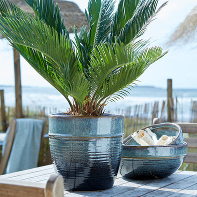 stunning blue melange planters great for small trees and large plants from Tailor & Forge