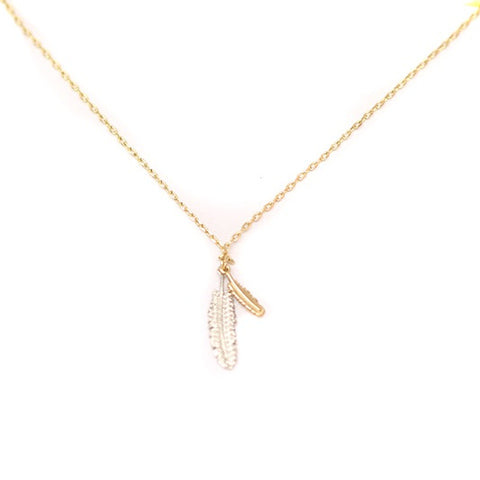 Gold Plated Necklace with Feathers