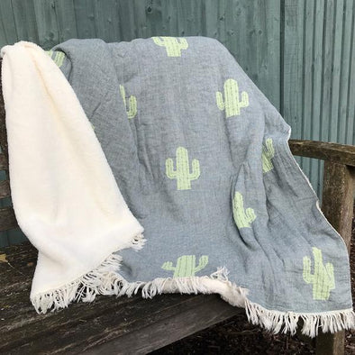 Fleece Backed Cactus Throw - Grey Green - Throws - TAILOR & FORGE