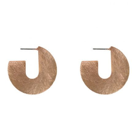 Kikki Circle Scratched Earrings - Rose Gold - Jewellery - Big Metal London - TAILOR & FORGE