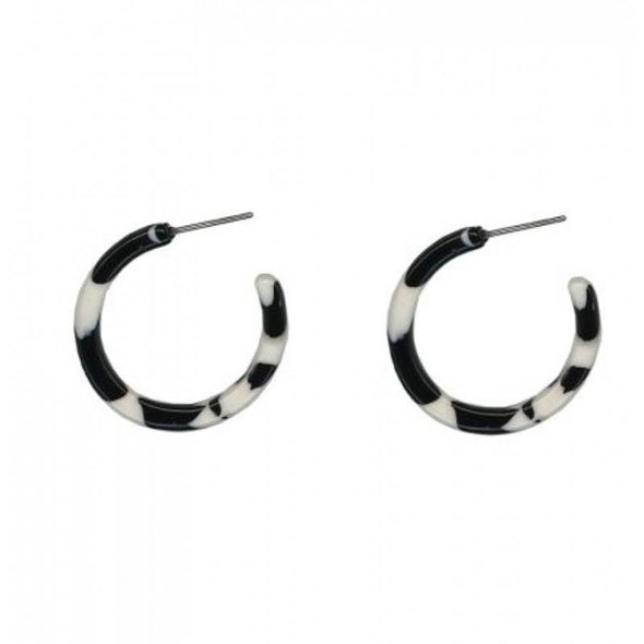 B&W Resin Tiny Hoop Earrings - Jewellery - Big Metal London - TAILOR & FORGE
