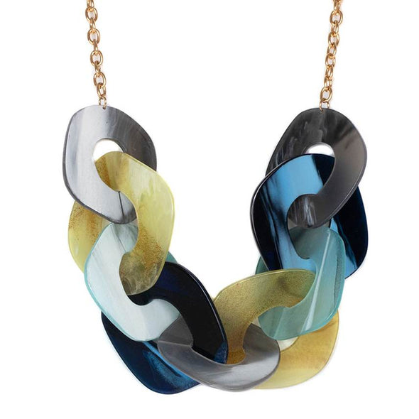 Faux Horn Links Statement Necklace - Blue - Jewellery - Big Metal London - TAILOR & FORGE