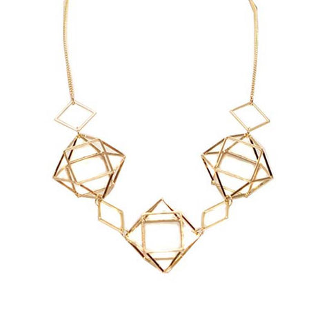 Geometrical Caged Necklace - Gold