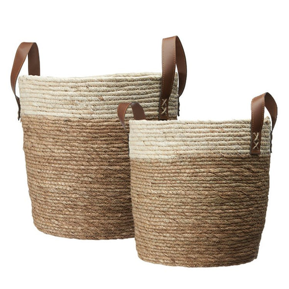 Natural Woven Basket with Leather Handles - Small - Storage -  TAILOR & FORGE