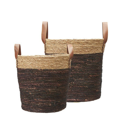 Natural Woven Basket with Leather Handles - Brown - Small - Large - Woven - Storage - Tailor & Forge