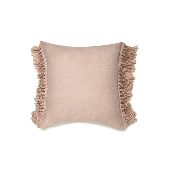 Blush Wool Fringe Cushion - Cushions - Home Interiors - TAILOR & FORGE