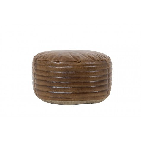 Brown Leather Pouf - Furniture - Light & Living - TAILOR & FORGE