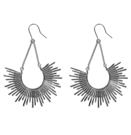 Half Burst Earrings - Silver