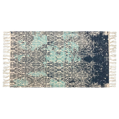 Floor Rug Abstract Blue Natural