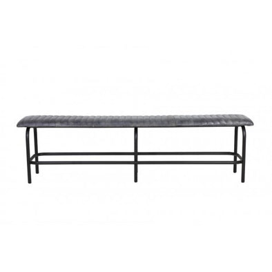 TRORY Leather Metal Bench - Grey - Furniture - Light & Living - TAILOR & FORGE