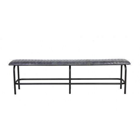 TRORY Leather Metal Bench - Grey